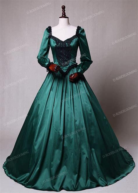 green ball princess victorian masquerade dress