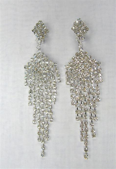 silver plated clear rhinestone dangle chandelier clip on