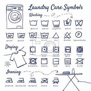 Weichspüler Symbol Waschmaschine : gekritzel set w schepflege symbole waschen trocknen waschmaschine leinwandbilder bilder ~ Markanthonyermac.com Haus und Dekorationen