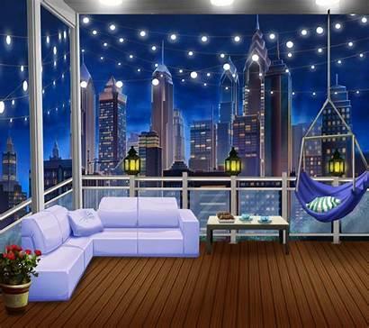 Anime Balcony Night Cozy Episode Interactive Backgrounds