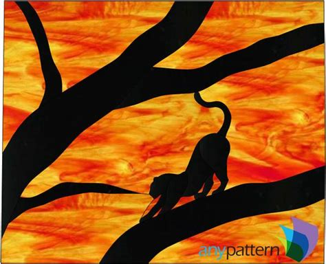 cat silhouette stained glass pattern anypatterncom