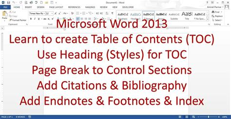 microsoft word of contents microsoft word 2013 pt 7 of contents bibliography