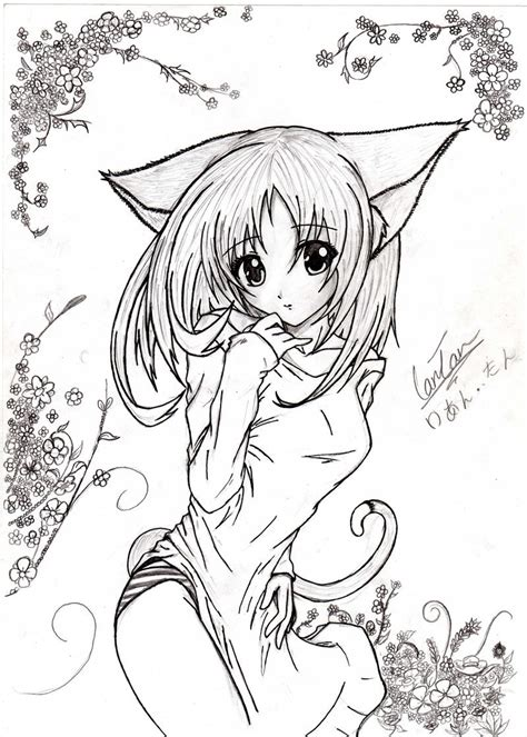 anime neko girl drawing  kusanagi  deviantart