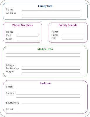 babysitter info sheet allergies  sps dairy