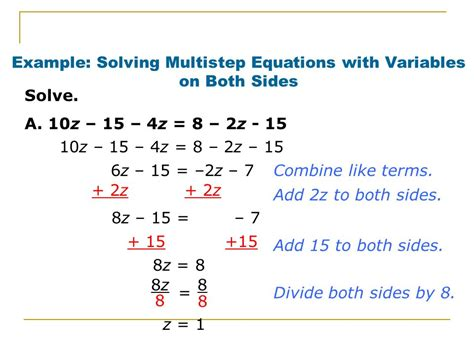 lesson 8 solving multi step equations with variables on