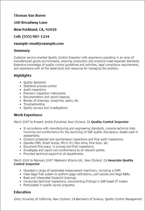 Cv Format For Quality by Quality Inspector Resume Inspections Safety