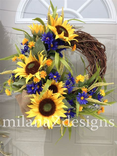 sunflower door wreath french country floral wreath
