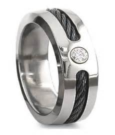 mens wedding rings with crosses black cable titanium wedding ring cz