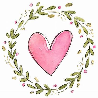 Wreath Clipart Valentines Watercolor Valentine Heart February