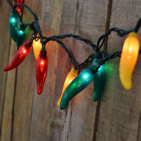 green and yellow chili pepper string lights 35 lights
