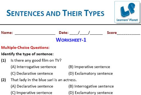 grade types  sentences worksheet  grade  spesial