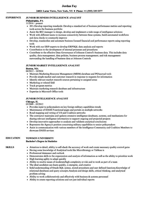 Junior Intelligence Analyst Resume Samples | Velvet Jobs
