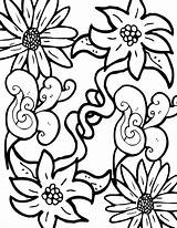 Flowers Coloring Pages Adults Pretty Leaves Fun Floral Lots sketch template
