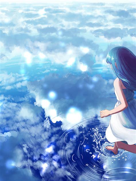 Anime Water Wallpaper - 600x800 anime clouds water walking on