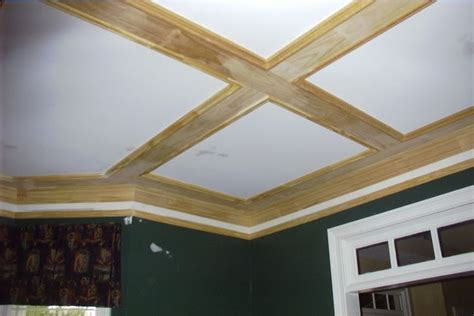Simple Coffered Ceiling by Diy Coffered Ceiling Out Of Simple 1x6 Boards And Basic