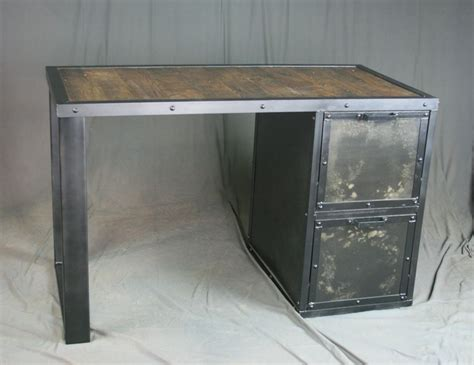 metal and wood desk with drawers buy custom made vintage industrial desk with file cabinet