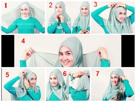 tutorial  memakai jilbab segi empat pashmina