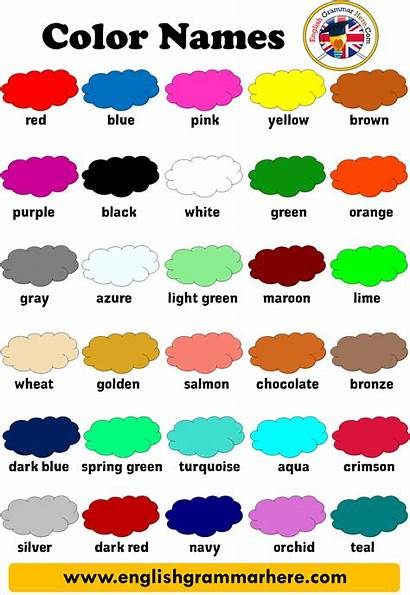 Colors English Vocabulary Names Colour Grammar Words