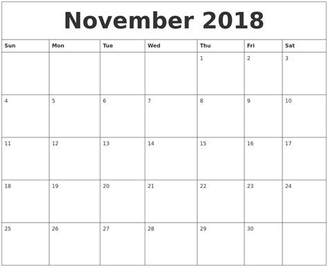 Monthly Calendar Template November 2018 Blank Monthly Calendar Template