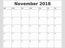 November 2018 Calendar Pages