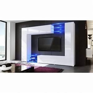 Meuble Tv Led Noir : meuble tv mural led samba cbc meubles ~ Teatrodelosmanantiales.com Idées de Décoration