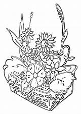 Coloring Pages Bed Flower sketch template