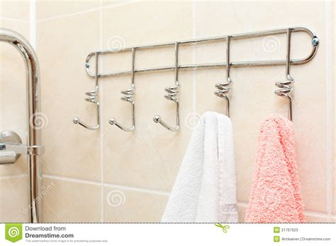 Towels Hanging In Bathroom Stock Two Terry Towels Hanging On A Hooks Stock Photos Image