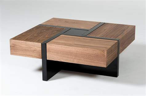 square coffee tables for modrest makai modern walnut black square coffee table 8206