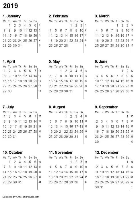 printable calendar   month numbers  week