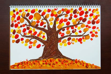 fingerpaint fall tree kids crafts fun craft ideas