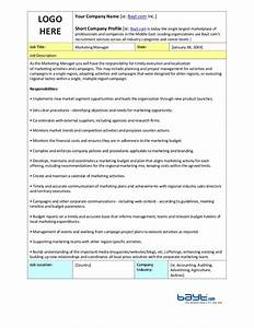 Marketing Manager Job Description Template By