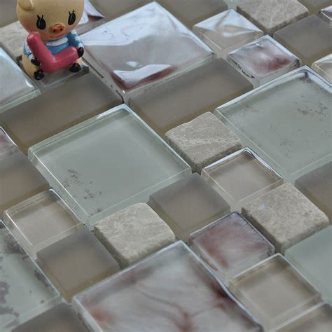 Gray Stone and Glass Mosaic Tile Square Wall Marble Tile