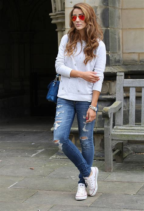 fashionable combinations  ripped jeans