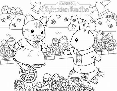 Families Sylvanian Calico Coloring Critters Pages Easter