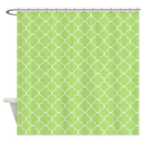 lime green white quatrefoil shower curtain by
