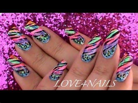 colorful animal prints nail art design tutorial youtube