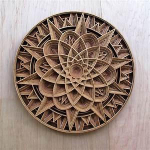 Geometric Laser-Cut Wood Relief Sculptures by Gabriel