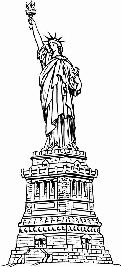 Statue Liberty Drawing Outline Clipart Clip Template