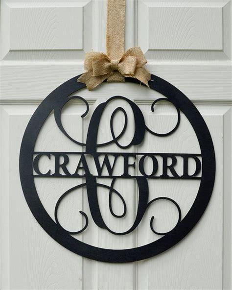 wooden letter painted monogram door hanger family  wedding monogram guest book