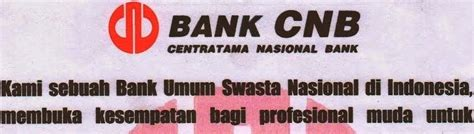 lowongan kerja bank   pt centratama nasional bank