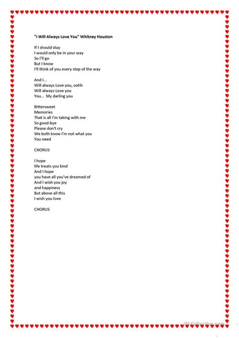 houston i will always you testo i will always you lyrics by houston worksheet