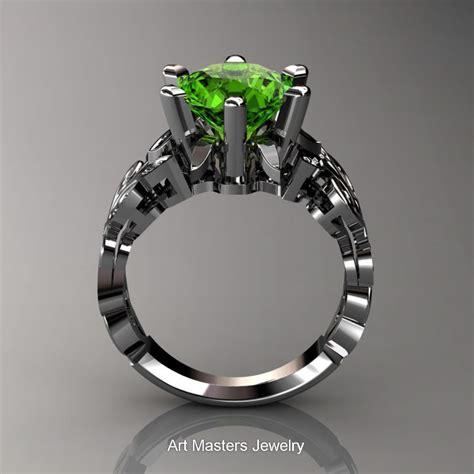 nature inspired 950 platinum 3 0 ct peridot diamond leaf and vine crown solitaire ring rny101