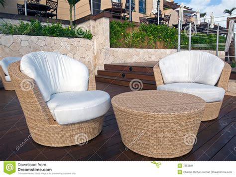 wicker furniture at luxury resort stock image image 7851921