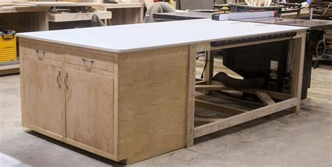 table saw outfeed table with storage cabinet