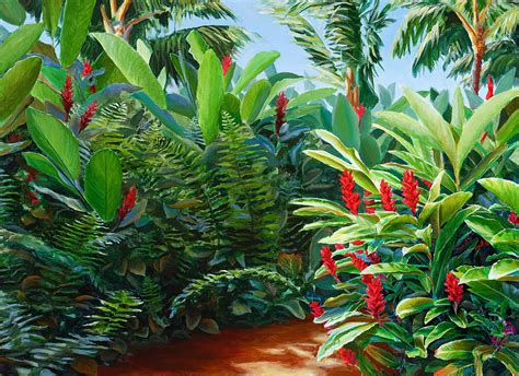 garden hawaiian torch painting by whitworth