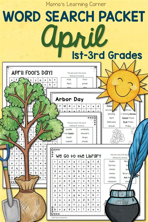 april word search packet mamas learning corner