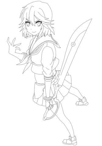 Ryuko Matoi from Kill La Kill Manga coloring page Free