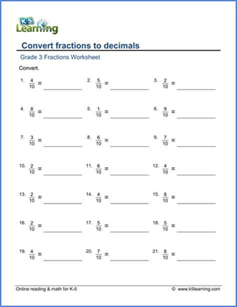 grade 3 math worksheets convert fractions to decimals