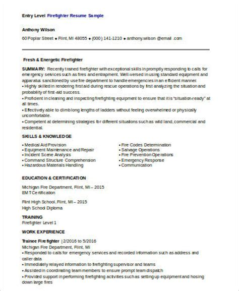 Entry Level Firefighter Resume by Sle Firefighter Resume 8 Exles In Word Pdf