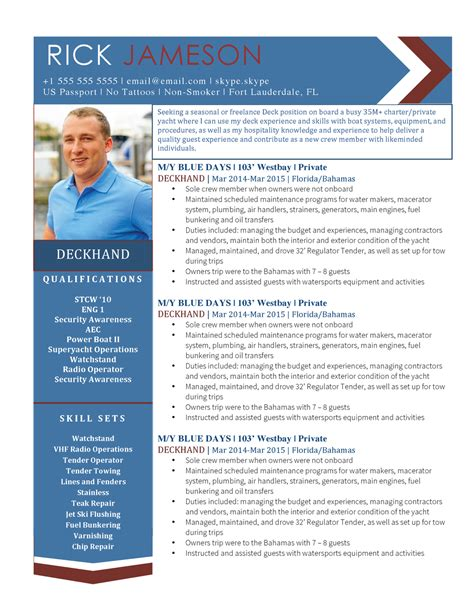 Deckhand Resume Exles by Yacht Resume